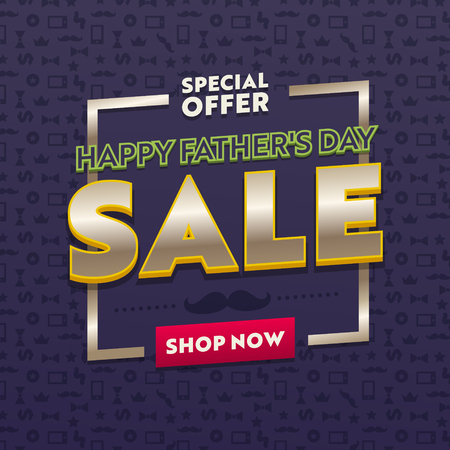Promotion and Shopping Template for Fathers Day Holiday. Special Offer and Sale Promotion Flyer Design, Social Media Template for Placard, Flyer, Presentation or Brochure. Vector Illustration, Banner