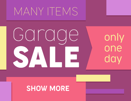 Trendy Template with Abstract Geometric Shapes on Colorful Background in Pop Art Style for Poster, Presentation, Layout. Garage Sale Event Announcement Promo Flyer Design. Vector Illustration, Banner Illustration