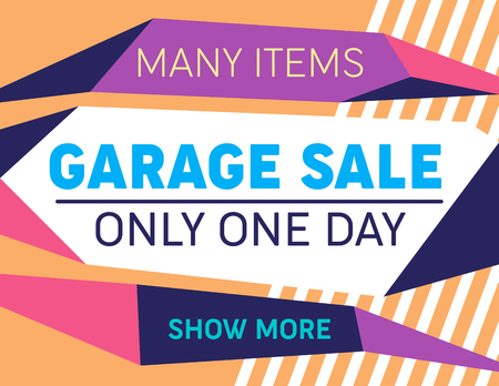 Cover Layout Design in Modern Artistic Minimalist Style. Vibrant Geometric Dynamic Shapes and Lines Background. Poster Template Garage Sale. Shopping and Marketing Concept. Vector Illustration, Banner Illustration