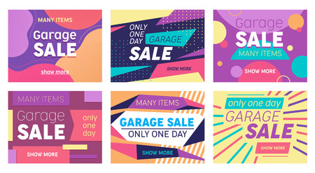 Set of Abstract Banners for Social Media Marketing or Print Design. Garage Sale Offer for Discounter Shop, Shopping Posters in Modern Geometric Style with Colorful Shapes and Lines Vector Illustration Illustration