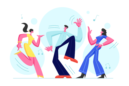 Young People Dancing on Disco Party. Man and Women in Fashioned Clothing Celebrating Holiday, Spending Time Together Moving to Music Rhythm Happy Leisure and Sparetime Cartoon Flat Vector Illustration