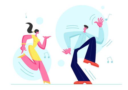 Giovane coppia uomo e donna che ballano insieme. Persone in abbigliamento festivo Tempo libero, stile di vita attivo, amanti o amici trascorrono del tempo in feste in discoteca, tempo libero per hobby di danza. Cartoon piatto illustrazione vettoriale Vettoriali