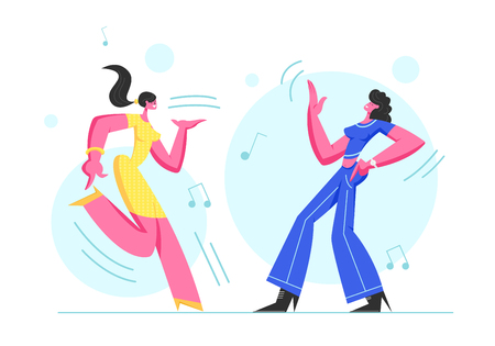 Couple of Excited Young Girls Dancing in Disco Party. Happy Female Characters Cheerfully Dance Moving Body in Music Rhythm. Happy Life Moments, Weekend Leisure Hobby. Cartoon Flat Vector Illustration