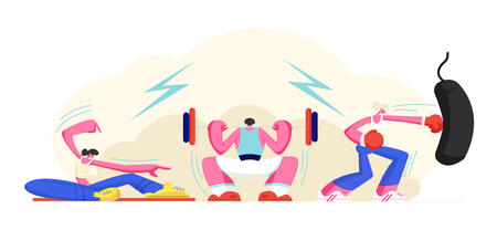 People Exercising in Gym. Powerlifting Man Squatting with Weight, Girl Doing Sport Fitness or Crossfit Training, Boxing Woman Bodybuilding Workout, Healthy Lifestyle. Cartoon Flat Vector Illustration