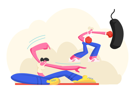 Young Girls in Sports Wear Training in Gym, Female Characters Stretching Body on Pilates Class and Boxing Punching Bag. Sport, Fitness, Sportswomen Healthy Lifestyle. Cartoon Flat Vector Illustration  イラスト・ベクター素材
