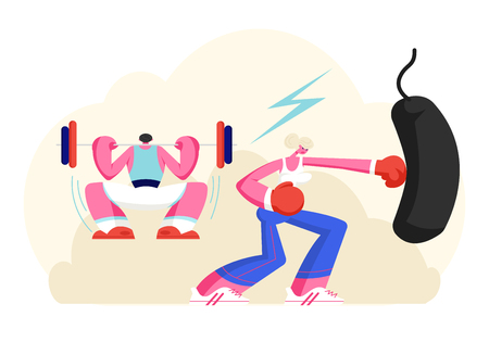 Male and Female Characters Exercising in Gym. Strong Man Squatting with Weight, Woman Boxing Punching Bag. Powerlifter and and Boxer Workout in Gym, Bodybuilding. Cartoon Flat Vector Illustration Illustration