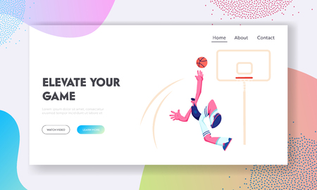 Male Basketball Player in Action Jumping for Reflecting Goal from Basket. Sport Game, Competition Process. Sportsman in Motion. Website Landing Page, Web Page. Cartoon Flat Vector Illustration, Banner