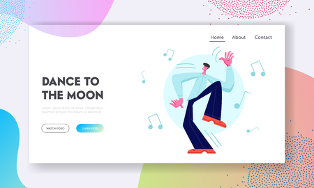 Excited Male Dancer Character Happily Spend Time Alone. Young Man Enjoying Dancing on Disco Party. Leisure, Dance Classes Website Landing Page, Web Page. Cartoon Flat Vector Illustration, Banner