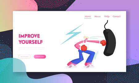 Young Woman Boxing Punching Bag in Gym. Female Boxer Character Workout, Fighting Lady Fitness Exercise for Strong Healthy Body. Website Landing Page, Web Page. Cartoon Flat Vector Illustration, Banner