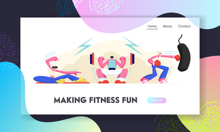 Healthy People Exercising in Gym. Powerlifting Man Pushing Dumbbell, Pilates Girl Sport Fitness Training, Boxing Woman Workout Website Landing Page, Web Page Cartoon Flat Vector Illustration, Banner Illustration