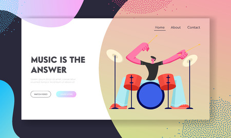 Rock Star Drummer Playing Hard Music with Sticks on Drums. Musician Character Performing on Stage with Percussion Instrument. Website Landing Page, Web Page. Cartoon Flat Vector Illustration, Banner Foto de archivo - 123180082