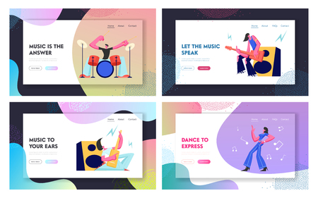 Set Rock Music Players and Girl Dancer. Musical Hobby and Occupation. Guitarist, Drummer and Dancer on Stage. Talented People Website Landing Page, Web Page. Cartoon Flat Vector Illustration, Banner