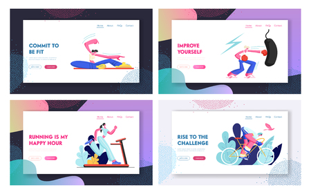 Set of Sporty Website Landing Page and Web Page Templates, Male and Female Characters in Sports Wear Fitness Workout and Healthy Lifestyle, People Engage Sport Cartoon Flat Vector Illustration, Banner  イラスト・ベクター素材
