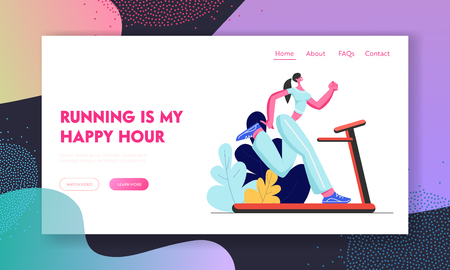 Athlete Woman Character Training on Treadmill, Running Sports Activity, Fitness and Aerobics Lifestyle, Girl Engaging Sport. Website Landing Page, Web Page. Cartoon Flat Vector Illustration, Banner