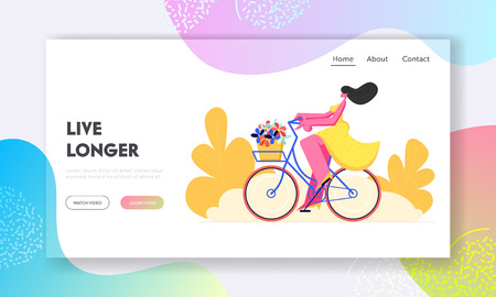 Happy Woman Riding Bicycle with Flowers in Basket. Active Girl Character Enjoying Bike Ride, Healthy Lifestyle, Eco Transport. Website Landing Page, Web Page. Cartoon Flat Vector Illustration, Banner