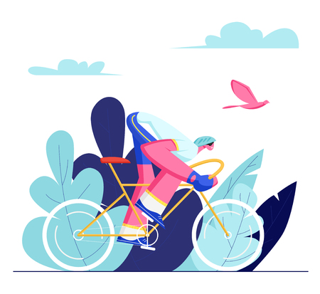 Cyclist Sportsman in Sports Wear and Helmet Riding Bike Outdoors in Summer Day. Bicycle Man Active Sport Life and Healthy Lifestyle, Bike Rider in Race Competition. Cartoon Flat Vector Illustration