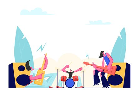 Rock Band Performing on Stage. Electric Guitarists and Drummer Music Concert. Male Artists Playing an Guitar and Drums. Men in Rocking Outfit with Musical Instruments. Cartoon Flat Vector Illustration Çizim
