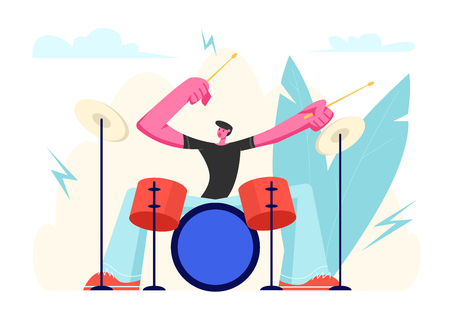Excited Drummer Playing Hard Rock Music with Sticks on Drums. Talented Musician Character Performing on Stage with Percussion Instrument. Music Star Entertainment Show Cartoon Flat Vector Illustration Çizim