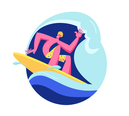 Young Man Surfer in Swim Wear Riding Big Sea Wave on Board. Summertime Activity, Healthy Lifestyle, Vacation Leisure in Exotic Country. Surfing Recreation in Ocean. Cartoon Flat Vector Illustration Imagens - 123180093