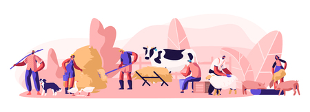 People Doing Farming Job as Feeding Domestic Animals, Milking Cow, Shearing Sheep, Prepare Hay for Livestock. Male and Female Farmer Characters Working with Cattle. Cartoon Flat Vector Illustration