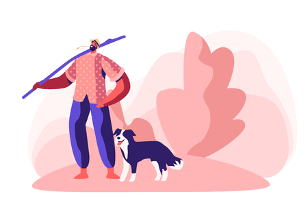Young Barefoot Man in Chaff Hat Stand with Long Stick on Shoulder and Straw in Mouth with Dog near his Leg. Shepherd Male Character. Villager, Farmer Walking Outdoors. Cartoon Flat Vector Illustration Illustration