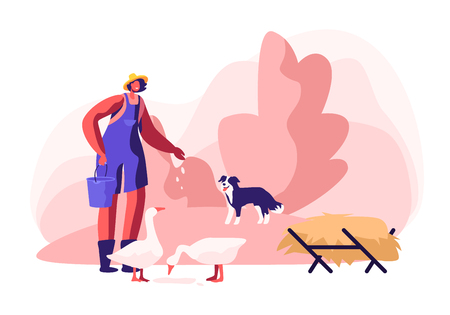Young Woman in Working Robe Feeding Geese, Dog Stand nearby. Female Farmer, Villager Character at Work. Girl Care of Birds on Farm at Summertime, Agriculture, Farming. Cartoon Flat Vector Illustration Vettoriali