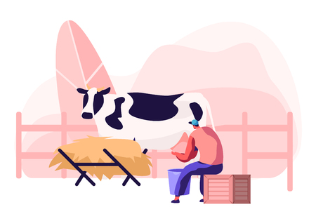 Young Milkmaid Woman in Uniform Sitting on Box and Milking Cow into Bucket. Milk and Dairy Farmer Agriculture Products, Farming Rancher Girl Working on Animal Farm. Cartoon Flat Vector Illustration Illustration