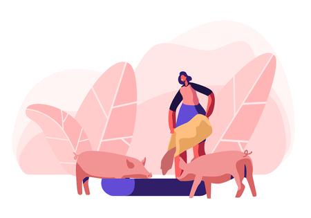 Giovane donna che alimenta i maiali mettendo il grano nel trogolo. Carattere femminile dell'agricoltore al processo di lavoro Prendersi cura degli animali domestici presso l'azienda agricola. Agricoltura, rancher estate attività fumetto piatto vettore illustrazione