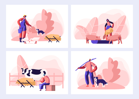 Set of Farmer Everyday Routine. People Doing Farming Job. Feeding Animals, Milking Cow, Shearing Sheep, Raking Hay. Male and Female Characters Working with Cattle. Cartoon Flat Vector Illustration