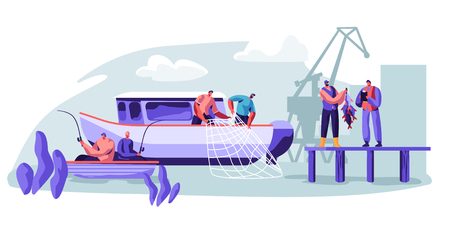 Fisherman Working on Fishery Industry on Large Boat Ship. Fishermen Catching Fish, Pulling Fishing Net from Sea, Giving Catch Haul to Customer, Fishing Industry. Cartoon Flat Vector Illustration Vectores