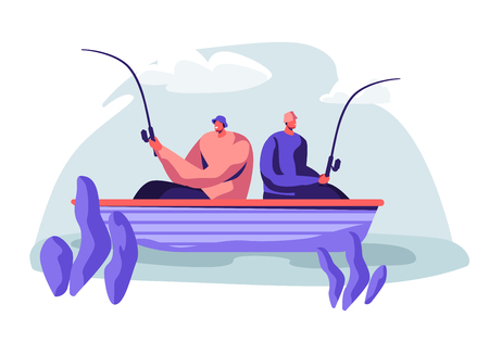 Men Fishing in Boat on Calm Lake or River at Summer Day. Relaxing Hobby at Summertime. Fishmen Sitting with Rods Having Good Catch. Friends Spend Time Together. Cartoon Flat Vector Illustration