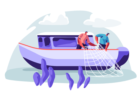 Fishermen Working on Fishery Industry on Large Boat Ship Catching Fish and Pulling Fishing Net from Sea, Summertime Hobby, Fishing Industry, Profession Occupation. Cartoon Flat Vector Illustration