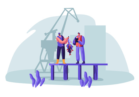 Fisherman Show Fish Haul to Customer Standing on Pier with Loading Crane on Background. Buyer Watching Fishery Catch in Dock from Hand of Fisher Man. Fishing Industry. Cartoon Flat Vector Illustration  イラスト・ベクター素材