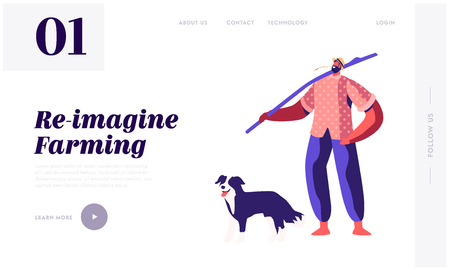 Shepherd, Rancher, Villager Male Character Walking with Dog Outdoors. Relaxed Barefoot Farmer with Long Stick on Shoulder. Website Landing Page, Web Page. Cartoon Flat Vector Illustration, Banner