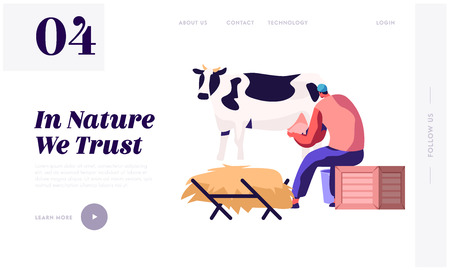 Milkmaid Woman in Uniform Milking Cow. Milk and Dairy Farmer Agriculture Products, Farming Rancher Girl Working on Animal Farm. Website Landing Page, Web Page. Cartoon Flat Vector Illustration, Banner