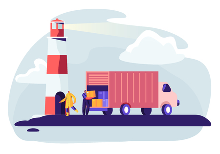 Logistics Transportation Container Ship with Industrial Truck. Import and Export in Shipping Cargo Harbor Yard. Transportation Industry, Global Maritime Logistic. Cartoon Flat Vector Illustration