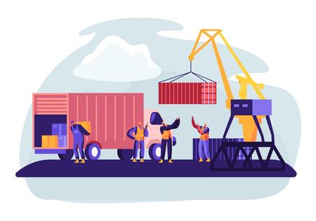 Port d'expédition avec des conteneurs de chargement de grue portuaire au bateau de fret maritime. Les travailleurs du port maritime transportent des boîtes depuis un camion dans les quais près du phare. Logistique maritime mondiale. Illustration vectorielle plane de dessin animé