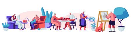 Mannelijke en vrouwelijke senioren die tijd doorbrengen in het verpleeghuis en hobby's luisteren, muziek luisteren, schilderen, schaken, breien. Oudere personages die plezier hebben. Cartoon platte vectorillustratie Vector Illustratie