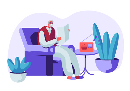 Senior Grey Haired Man in Glasses Sitting in Armchair Reading Newspaper and Listening Music on Radio. Aged Male Character Sparetime, Leisure and Hobby in Nursing Home. Cartoon Flat Vector Illustration Stock Illustratie