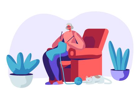 Gelukkig Senior grijsharige vrouw in glazen breien sjaal zittend in een leunstoel met slapende kat eronder. Leeftijd vrouwelijk karakter Hobby en vrije tijd in verpleeghuis. Cartoon platte vectorillustratie