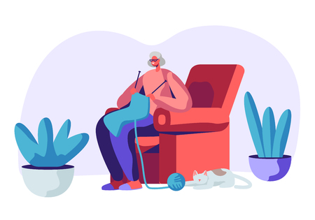 Happy Senior Grey Haired Woman in Glasses Knitting Scarf Sitting in Armchair with Sleeping Cat beneath. Aged Female Character Hobby and Leisure Time in Nursing Home. Cartoon Flat Vector Illustration Çizim