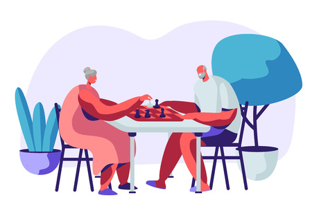 Relaxing Senior Man and Woman Playing Chess in Nursing Home. Couple of Cheerful Pensioners Spending Time at Intellectual Game, Retired People Leisure and Sparetime. Cartoon Flat Vector Illustration Illustration
