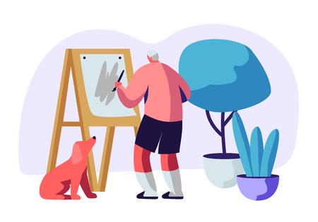 Hobby dell'artista dell'uomo anziano. Vecchio pittore maschio tenere il pennello in mano davanti alla tela su cavalletto disegno con colori ad olio, cane seduto sotto. Illustrazione piana di vettore del fumetto di occupazione creativa delle persone anziane