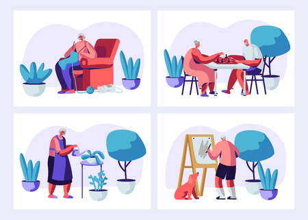 Set of Elderly Characters Having Hobby and Leisure Fun. Male and Female Senior People Spending Time in Nursing Home Listening Music, Painting, Playing Chess, Knitting. Cartoon Flat Vector Illustration