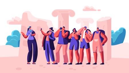 Groep jongeren met rugzakken en fotocamera's die naar het buitenland reizen. Mannelijke en vrouwelijke toeristen bezoeken Sightseeing met gids. Reisbureau Service, actieve levensstijl Cartoon platte vectorillustratie