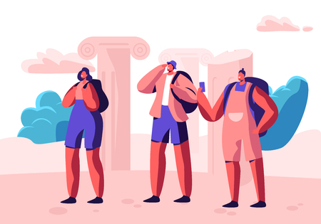Group of Young People with Backpacks and Smartphones Traveling Abroad. Travel Agency Service, Exotic Country Traveling Trip, Summertime Vacation. Active Lifestyle Cartoon Flat Vector Illustration Ilustração
