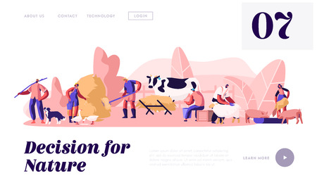 Farmers Work on Ranch with Cattle. People Feeding Domestic Animals, Milking Cow, Shearing Sheep, Prepare Hay for Livestock. Website Landing Page, Web Page. Cartoon Flat Vector Illustration, Banner