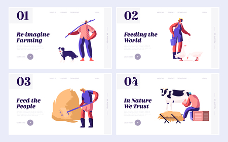 Set of Website Landing Page, Web Page Templates of Farmers Everyday Routine. Man Shepherd with Dog, Farmer Raking Hay, Women Feeding Birds and Milking Cow. Cartoon Flat Vector Illustration, Banner Illustration