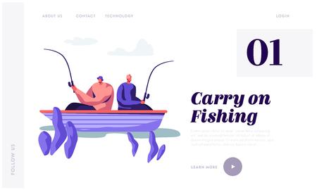 Relajantes hombres pescando en barco en el lago o río en el día de verano. Los pescadores sentados con cañas pasan tiempo juntos. Hobby de verano. Página de destino del sitio web, página web. Ilustración de Vector plano de dibujos animados, Banner