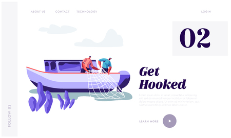 Fishermen Working on Large Boat Catching Fish and Pulling Fishing Net from Sea, Fishing Industry, Job, Profession Occupation. Website Landing Page, Web Page. Cartoon Flat Vector Illustration, Banner
